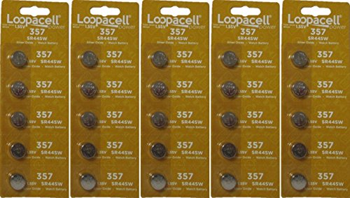 25 Loopacell SR44W SR44 357 V357 Silver Oxide Watch Battery