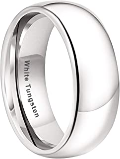2mm 4mm 5mm 6mm 8mm Silver/White Tungsten Rings for Men Women Wedding Bands Classic Domed Polished Shiny Comfort Fit