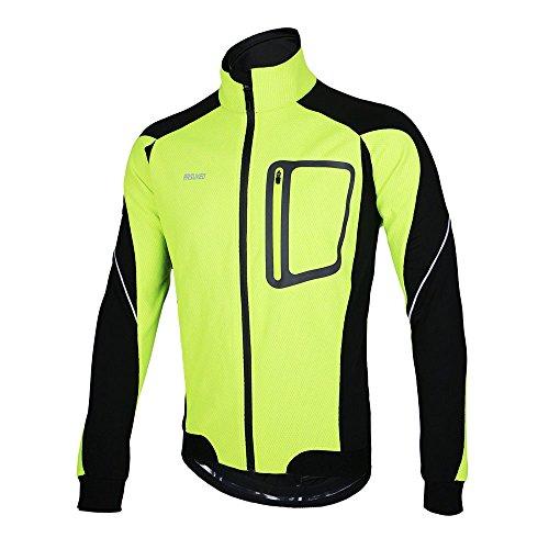 Lixada Montaña Arsuxeo chaqueta de invierno caliente chaqueta de manga larga de ciclismo de luz de bicicleta a prueba de viento de la camiseta de la ropa (Verde, L)