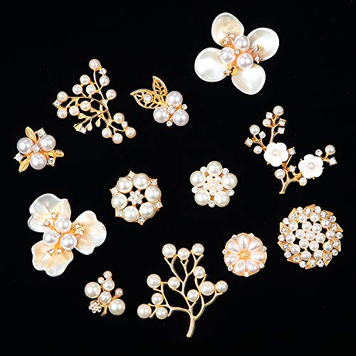 24 Adornos de Perlas Diamantes de Imitación Botones de Flor de Perlas de Imitación Broche de Perlas Adornos de Espalda Plana para Hacer de Joyas Artesanales, Ropa, Bolsos, Sombreros Ramo de Novia DIY