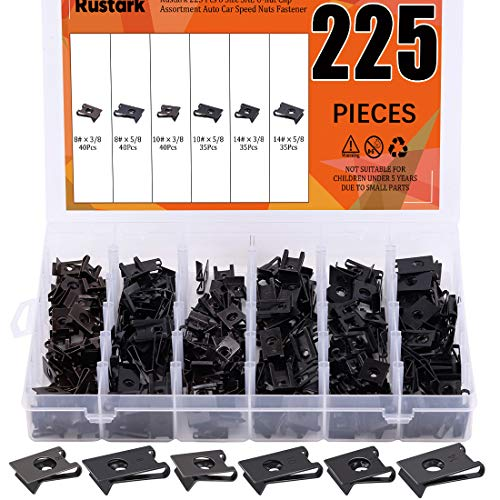 Rustark 225 Pcs 6 Size SAE U-nut Clip Assortment Auto Car Speed Nuts Fastener with Store Box for Dash Door Panel Interior