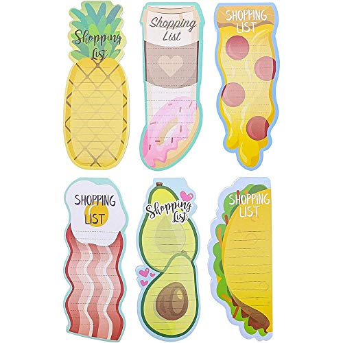 6-Pack Magnetic Shopping List Refrigerator Notepad, Foodie Designs, 60 Sheets Each, 3.5 x 9 Inches