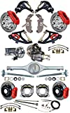 2' DROP SUSPENSION & WILWOOD 6/4 PISTON BRAKE SET FOR 55-57 CHEVY, CURRIE REAR END, AXLES, 9' FORD POSI-TRAC 3RD MEMBER, RED CALIPERS, 12' DRILLED ROTORS SPINDLES MASTER CYLINDER BOOSTER CONTROL ARMS