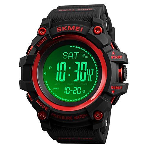 腕時計 コンパス 高度計 温度計 歩数計 腕時計 ミリタリー アーミー 防水 アウトドア スポーツ デジタルウォッチ メンズ L レッド