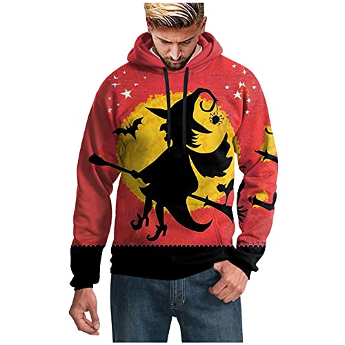 Harpily Halloween Sudadera Capucha Hombres Cuello Redondo Barato Extraño Estampado de Bruja Negro Retro Asequible Sweatshirt Moda Guapo Frío Chaqueta Moda Pullover Blusas (Rojo, S)