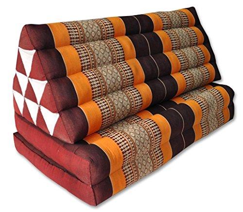 Wifash - Cojín tailandio, triángulo XXL con asiento de 2 capas, relax, colchón, kapok, sillón, sofá, jardín, playa, marrón y naranja (81117)