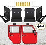 Door Storage Hanger Removable Wall-Mounted Rack Bracket Hanging fit for Jeep Wrangler CJ YJ TJ LJ JK JKU JL JLU...