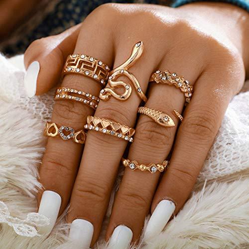 Flrora Boho Kristall Fingerringe Gold Schlange Herz Gelenk Knöchel Ring Set Charm Geschnitzt Stapelbare Ringe für Frauen und Mädchen (8 Stück)