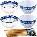Fadaar Juego de 4 Cuencos de cerámica con patrón, Cuencos de Cereales en patrón de Porcelana Azul y Blanca con cucharas Palillos para Desayuno Sopa Cereales Pasta Aperitivo(Azul + Blanco)
