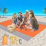 LOCINTE Coperta da Spiaggia Anti Sabbia Portatile Coperta da Picnic Tappetino da Spiaggia con 4 Picchetti Fixed per Picnic Spiaggia Viaggi Escursionismo Campeggio