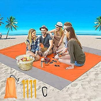 LOCINTE Couverture de plage anti-sable portable avec 4 piquets, pour pique-nique, plage, voyage, randonnée, camping