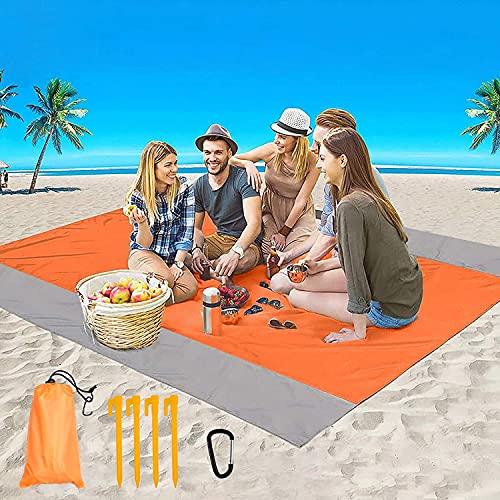 Coperta da Spiaggia, Coperta da Picnic Anti Sabbia Portatile Impermeabile, con 4 Picchetti...