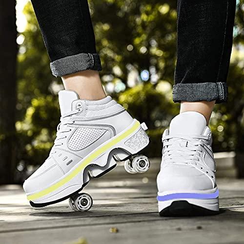 XRDSHY Patines De Ruedas para Niños con Rueda De Deformación Zapatos para Caminar Automáticos con Luces LED Zapatos De Polea Invisible Zapatos con Ruedas,White-EU40/26.7cm