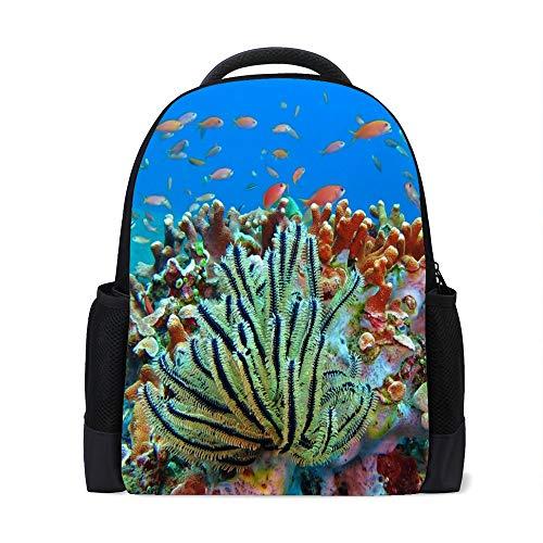 HaoXiang Rucksack für Jungen und Mädchen, Korallenfische, Freizeit-Rucksack, Business-, Gesprächsthemen, täglichen Gebrauch, Out-Trip, wasserdicht und langlebig, Polyester MES a Einheitsgröße