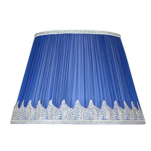 Pantalla de Lámpara, E27 Tulipas para Lamparas de Mesa, Diseño Plisado Tulipas para Lamparas, Pantalla con Soporte de Hierro, Azul, 4 x 40 x 28cm
