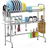 Over the Sink Dish Drying Rack, Cambond 2 Tier Dish Drainer Shelf Stainless Steel Large Dish Rack with Utensils Holder for Kitchen Counter, (Sink size ≤ 32.2 inch) Silver