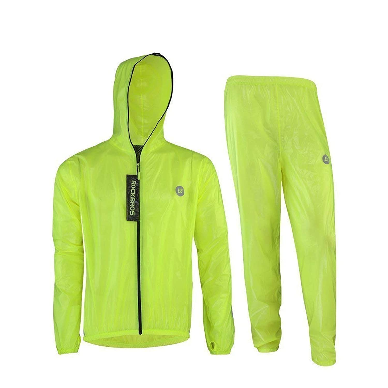 ROCKBROS(ロックブロス)サイクリング レインウェア メンズ レインコート 上下セット レインスーツ 隙間なし 通気 防水 軽量 着脱式合羽 収納袋付き