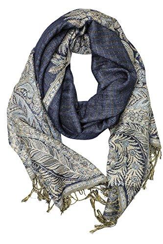 Achillea Soft Silky Reversible Paisley Pashmina Shawl Wrap Scarf w/Fringes 80' x 28' (Big Paisley Navy)