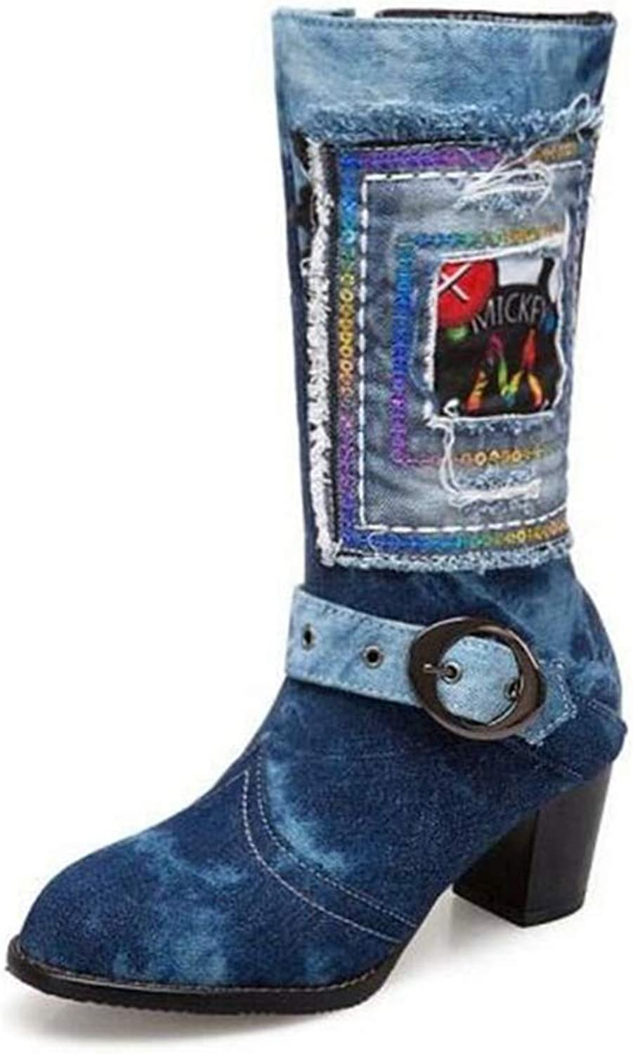 T-JULY Fashion Women High Heel Casual Boots Soft Ladies Mid Calf Jeans Denim Boots Side Zipper Round Toe Retro Woman shoes