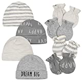 Gerber Baby 8-Piece Organic Cap and Mitten Set, Grey Lamb, Newborn