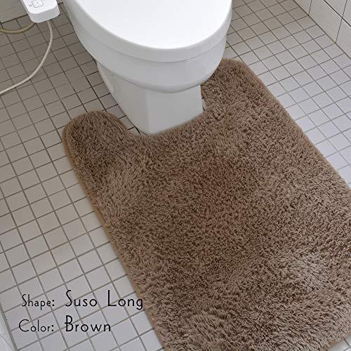 ラグズファクトリートイレマット足元洗濯可能滑り止めブラウン60x90cm裾ロング