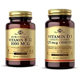 Solgar Vitamin B12 1000 mcg, 250 Nuggets - Supports Production of Energy, Red Blood Cells - Healthy with Vitamin D3 (Cholecalciferol) 125 mcg (5,000 IU) Vegetable Capsules - 240 Count