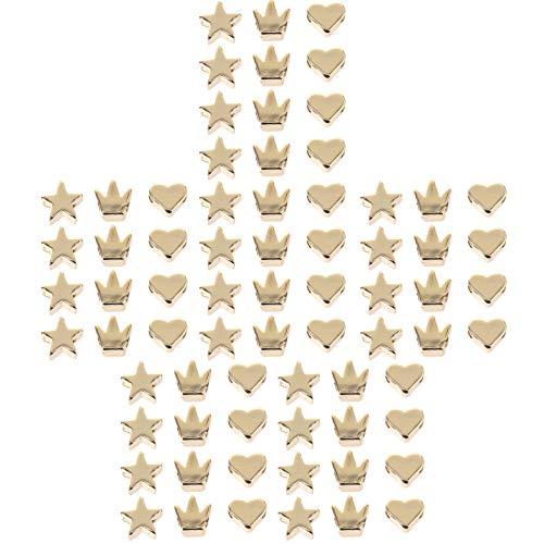 Heallly - 90 cuentas espaciadoras doradas para joyas, cuentas y corazones, corona de estrella, cuentas y abalorios, 5 mm, 6 mm, 5 mm, 6 mm
