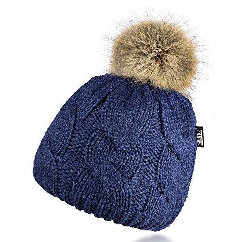 Miuno Berretto invernale con pon pon in pelliccia sintetica con fodera in peluche MJ164 blu jeans Taglia unica