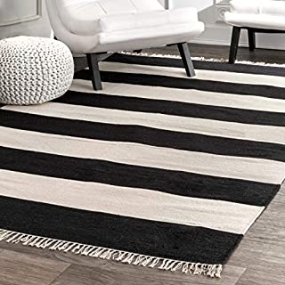 "nuLOOM KPSB01B Striped Flatweave Ashley Area Rug 7' 6"" X 9' 6"" Black (B07K55YXDL) 