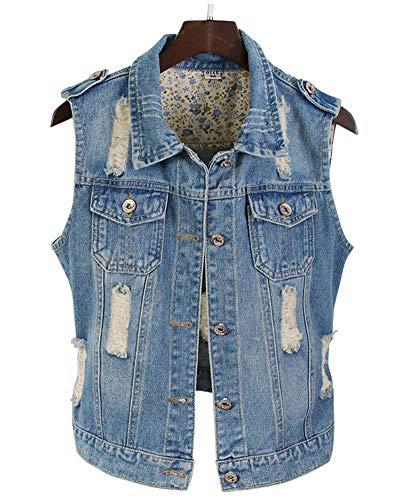 AnyuA Frauen ?rmellos Denim Weste Jacket Oberteil Damenweste Plus Gr??e Beil?ufig Schlank Zerrissen Jeansweste Blau 2XL