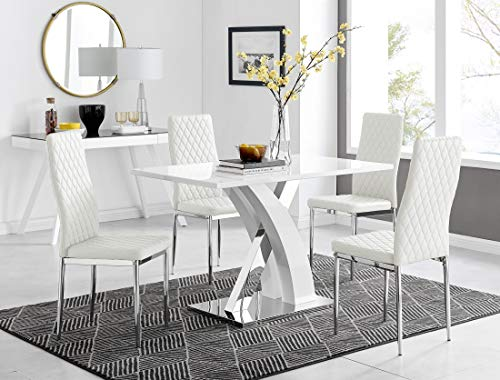 Atlanta 4 Rectangle White High Gloss Chrome Metal Modern Stylish 4 Seater Dining Table And 4 Modern Stylish Milan Dining Chairs Set (Dining Table + 4 White Milan Chairs)