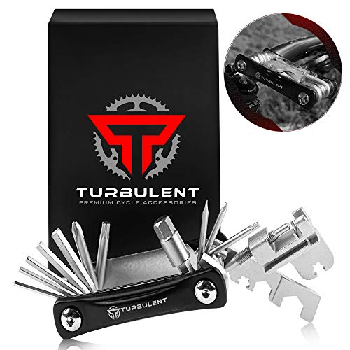 Turbulent Universal Bike Multitool - The Ultimate 23 in 1 Portable Sized Tool Kit with Chain Breaker, Allen Keys, Spoke Tool and More - Heavy Duty Multi Function Bicycle Repair Tool