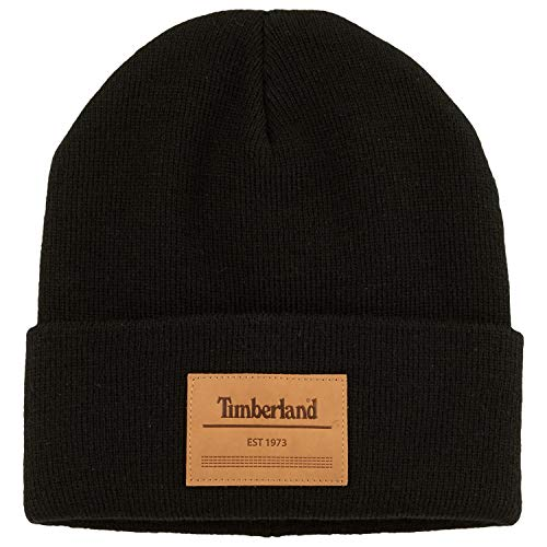 Timberland Men`s Watch Cap Knit Beanie with Leather Patch (Black(T100916C-001), One Size)