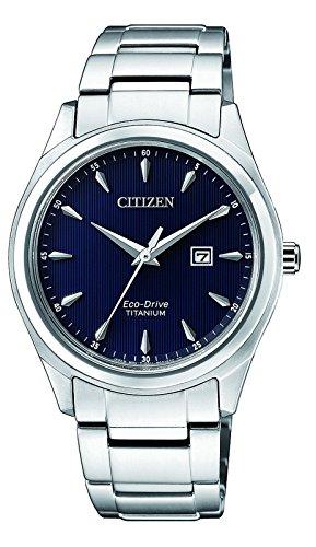 CITIZEN Damen Datum klassisch Solar Uhr mit Titan Armband EW2470-87L