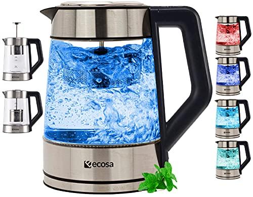 Glas Wasserkocher mit Teesieb und Kalkfilter | Temperatureinstellung bis 100°C | 2200 W | 1,7 Liter | Edelstahl mit Temperaturwahl | LED Beleuchtung im Farbwechsel | 100{faf1102cf2285267aa621777cf530517acb0dbfdb396d3437ef35f451aa90dab} BPA FREI | Warmhaltefunktion