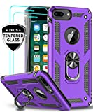 LeYi iPhone 8 Plus Case, iPhone 7 Plus Case, iPhone 6 Plus Case with Tempered Glass Screen Protector [2Pack], Military Grade Phone Case with Rotating Holder Kickstand for Apple iPhone 6s Plus, Purple
