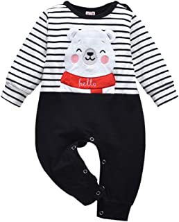 RCPATERN Newborn Baby Boy Clothes Baby Bear Outfits Long Sleeve Striped Romper Bodysuit Overall Jumpsuit One-Piece