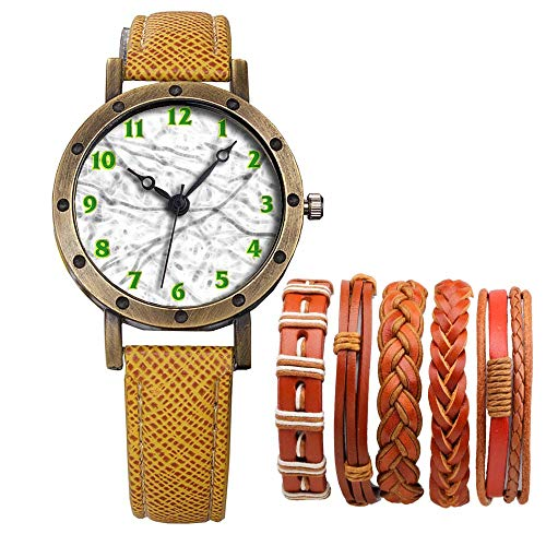 Meisjes Merk Retro Brons Vintage Lederen Band Dames Meisje Quartz Horloge Armband 6 Sets Abstract Bloemen 341.Vloertegel Patroon Achtergrond Slab Abstract Wit