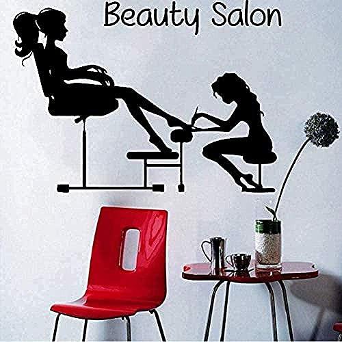ZZQQQ Decoración de Interiores Arte Mural pedicura Moda Chica manicura Fondo de Arte de uñas Pegatina para Sala de Estar 82X57cm
