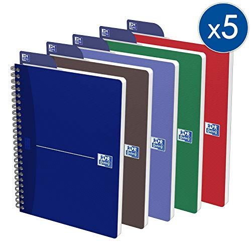 OXFORD 100102938 Spiralbuch Essentials 5er Pack mit 4 Farben A5 kariert 90 Blatt mit Lesezeichen-Lineal Schreibblock Notizblock