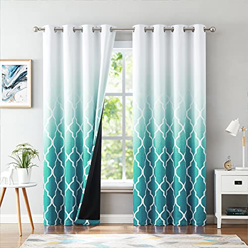 """Metro Parlor Teal Ombre 100% Blackout Curtains 84 Inches Long for Bedroom Living Room, Moroccan Printed on White Window Treatments, Grommet Top Thermal Insulated Drapes 52"""" W 2 Panel Sets"""