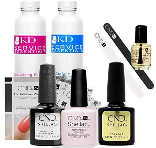 Official CND Shellac Starter Kit - Romantique Farbe Starter-Set - Top & Base Coat + Essentials