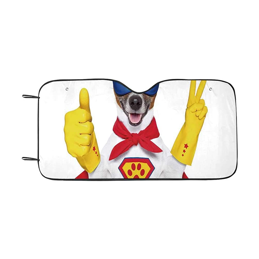 Superhero Durable Car Sunshade,Super Puppy Hero Dog in Cape and Mask Costume Humor Funny Cute Picture Decorative for car,55