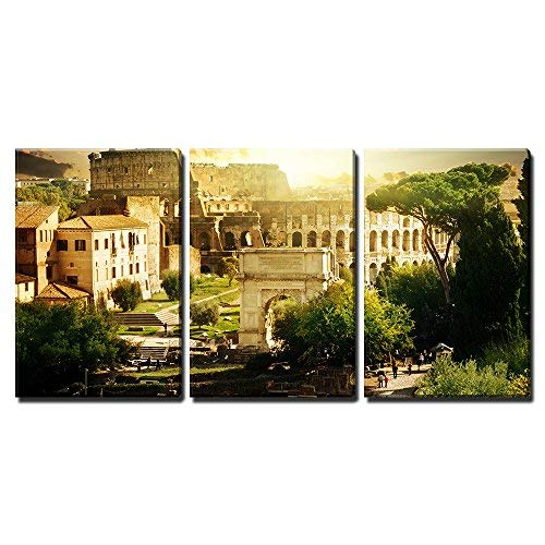 """wall26 - 3 Piece Canvas Wall Art - Colosseum in Rome, Italy - Modern Home Art Stretched and Framed Ready to Hang - 16""""x24""""x3 Panels"""
