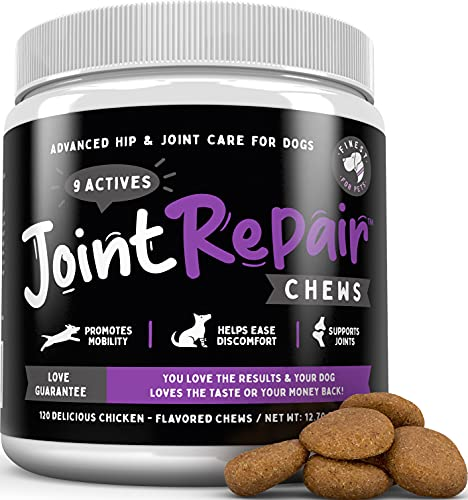 Joint Repair Advanced Hip & Joint Supplement For All Dogs. Naturally Relieves Arthritis  Pain & Inflammation. Extra Strength Chews: Glucosamine  Chondroitin  MSM  Turmeric & Omega 3. Made in USA (120)