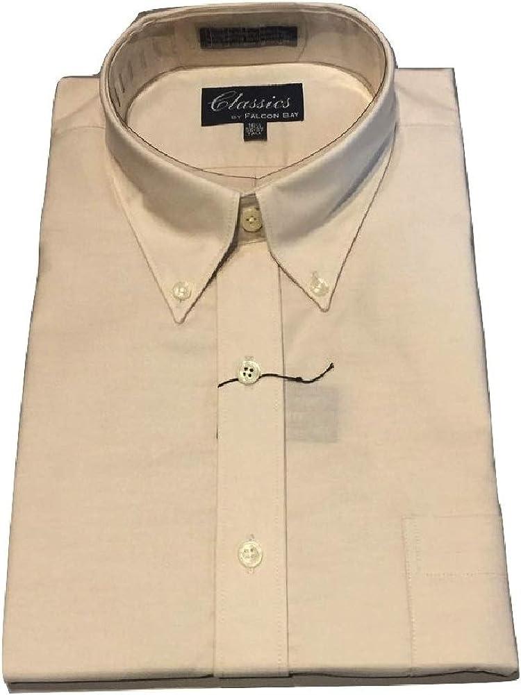 Falcon Bay Big and Tall Comfort Collar Tan Oxford Button Down Casual Dress Shirt