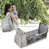 Yacul Diaper Bag Backpack with Bassinet for Mom, Multi-Purpose Travel Crib with Waterproof Pad and Sunshade, Diaper Change Station, Backpack for Men Women Large Capability Gray (Update Version)