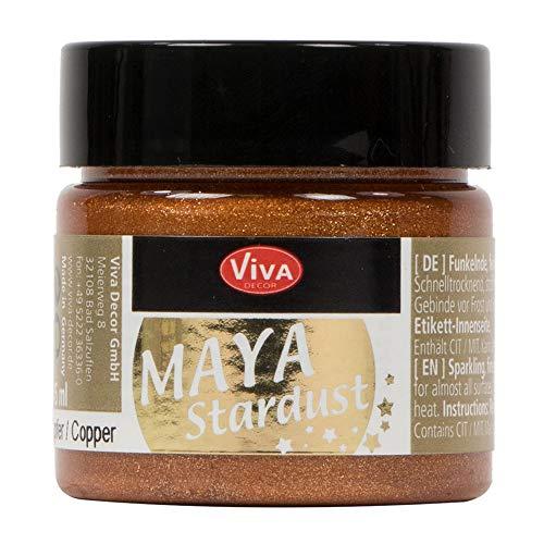 Viva Decor®️ Maya Stardust (Kupfer, 45 ml) feinkörnige Glitzer Farbe - feine Effekt Paste zum Basteln - Glitter Farben für Porzellan, Beton, Steine, Papier, Glas UVM. - Wetterfest