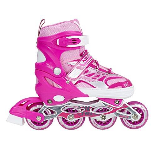 Inlineskates Inline-Skates Inliner Rollschuhe verstellbar Sport S M L NJ1828 (Pink, L)
