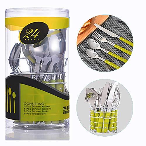 Alaskaprint Juego de cubiertos de acero inoxidable con cuchillo tenedor cuchara cucharadita de cubiertos pulido espejo apto para lavavajillas de 24 piezas servicio para 24 (Plata con verde)